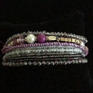 10 LAYER PURPLE and GOLD STRETCHY BEAD BRACELET